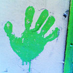 Give me five with green paint