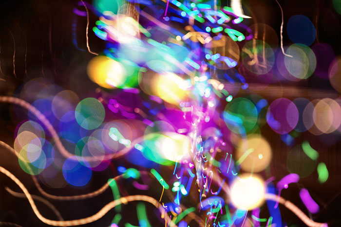 Composite image of led lights with light bubbles and motion blur.